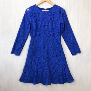 J. Crew Dresses - J. Crew long sleeve dress in floral lace cobalt 6